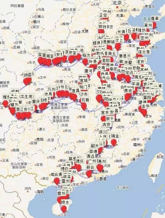 """在这张地图中,输入""""苏轼"""",一秒钟后,在中国地图的腹地上,苏轼的人生图片"""