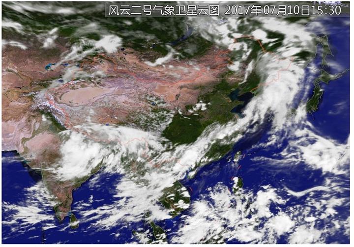 除了现成的天气预报外,我们还可以借助卫星云图,配合风向的变化图片