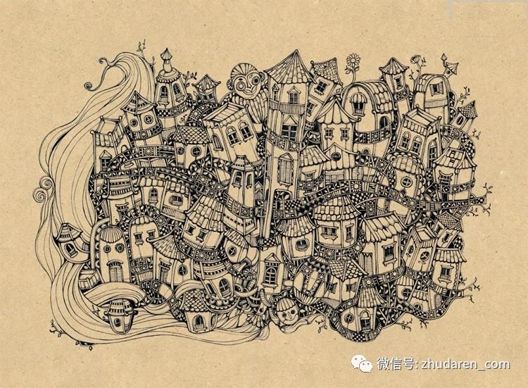 韩国风格黑白手绘稿 针管笔装饰画临摹线稿图 绘画