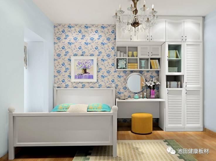 田园系列,书桌与装饰吊柜,掩门衣柜的设计,加上蓝色小碎花的墙纸,整个