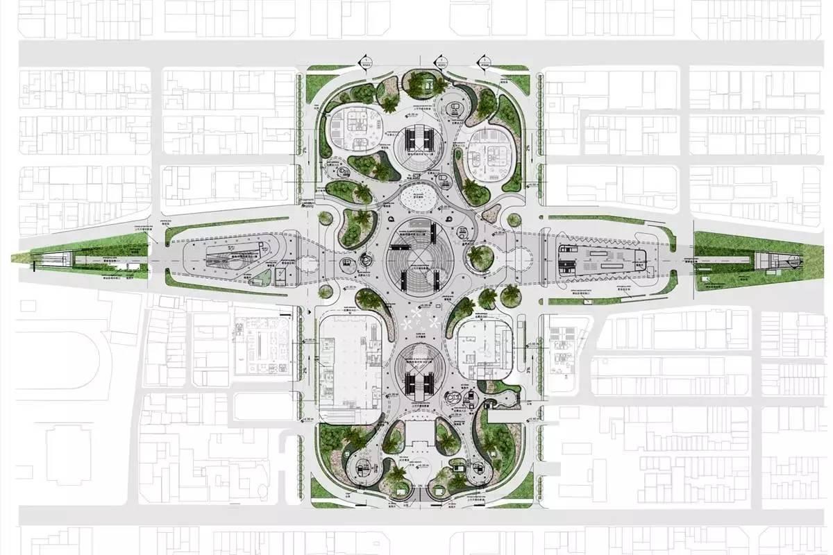 5公顷的广场遗址(13000平方米),绿色的树荫(35000平方米),多层自行车图片