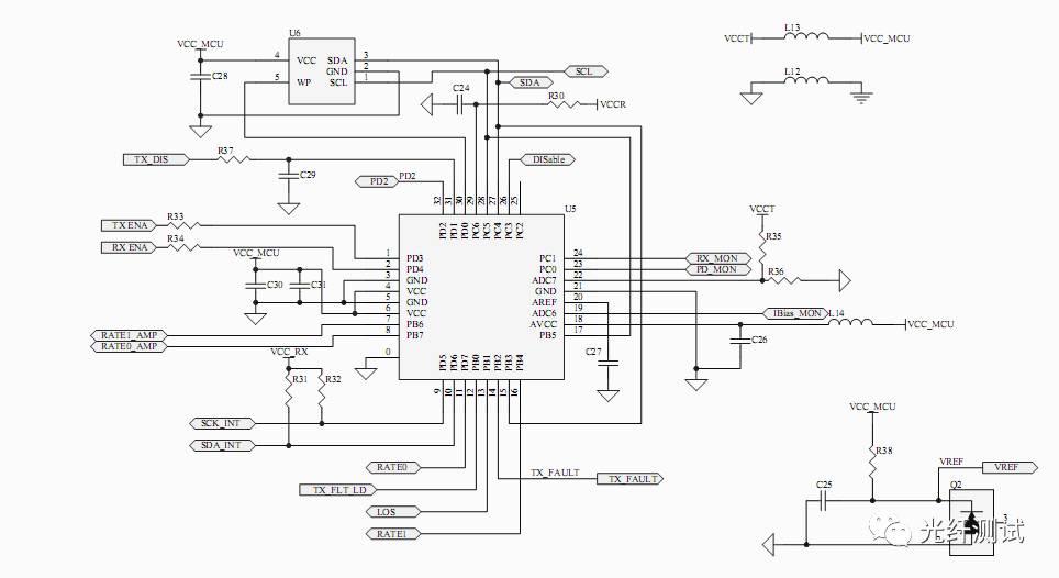 限幅放大单元等电路,实现光电转换,将光纤送来的光信号转换成电信号.