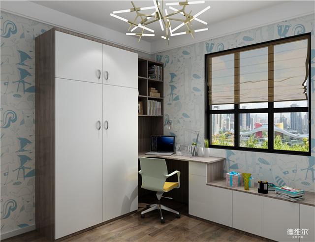 除了独立的单人床和床头柜外, 衣柜,书柜,书桌和矮柜一体化转角设计图片