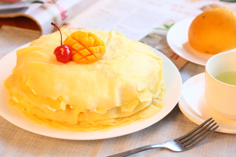 不用烤箱就能轻松做的~芒果千层蛋糕