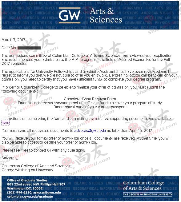 GPA 3.2,TOEFL 102 拿到乔治华盛顿大学offer