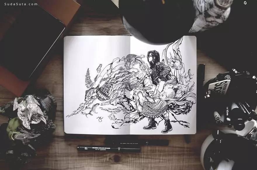 笔记本上的黑白手绘
