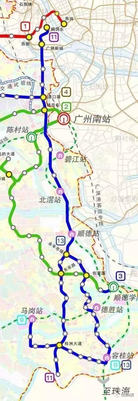 即将开建 佛山地铁11号线连接顺德广州 2号线二期连接高明禅城图片