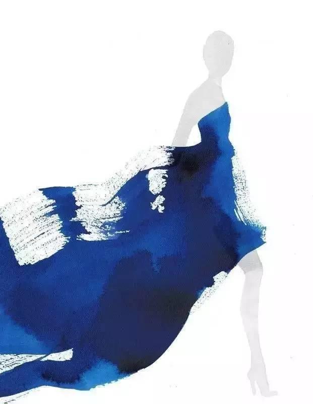 水墨手绘服装效果图,除了很时尚,还能很诗意!
