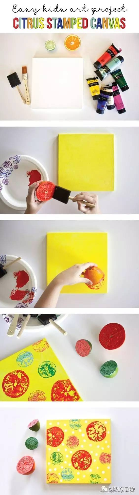 喷漆,画笔,颜料,底刷,底卡 材料和工具:水果(橙子和柠檬),颜料,底刷