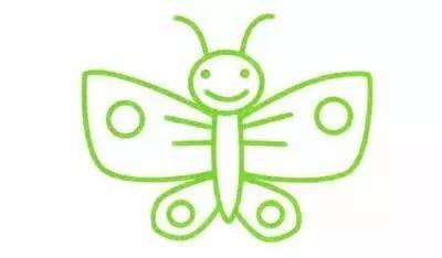 4,最后画上蝴蝶的眼睛,嘴巴,以及蝴蝶翅膀上的图案,这个蝴蝶就完成了.