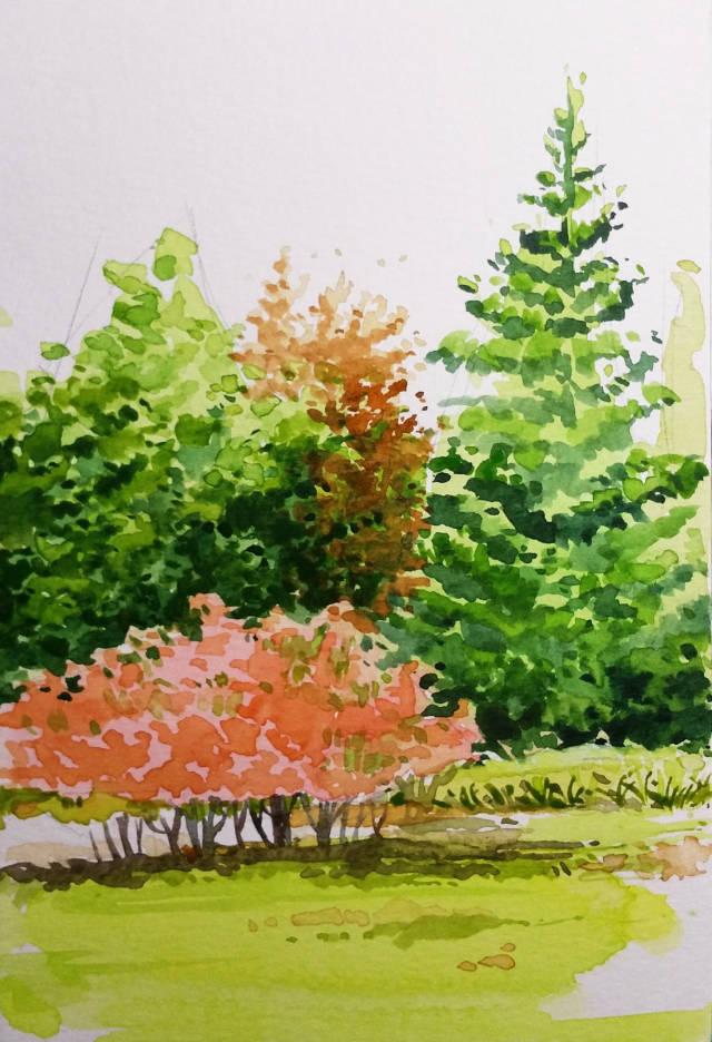 刻畫出遠景中紅色的樹木,顏色要與近景的紅色樹形成對比,遠景偏灰,沒