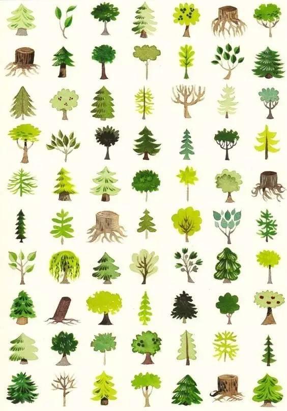 手账简笔画教程 | 树的几百种画法
