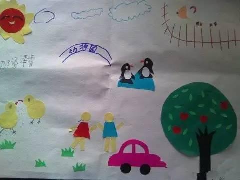 范文: 剪贴画中的太阳是用红色和黄色的彩纸做的,还有一棵苹果树,树