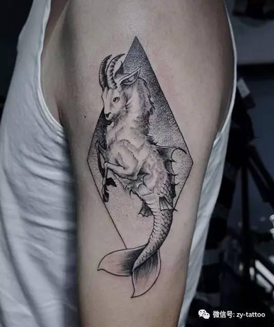 摩羯座的爱,手臂摩羯座彩绘纹身