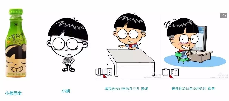 """(""""小茗同学""""饮料瓶身上的卡通形象与""""小明""""卡通形象的头部造型对比图4图片"""