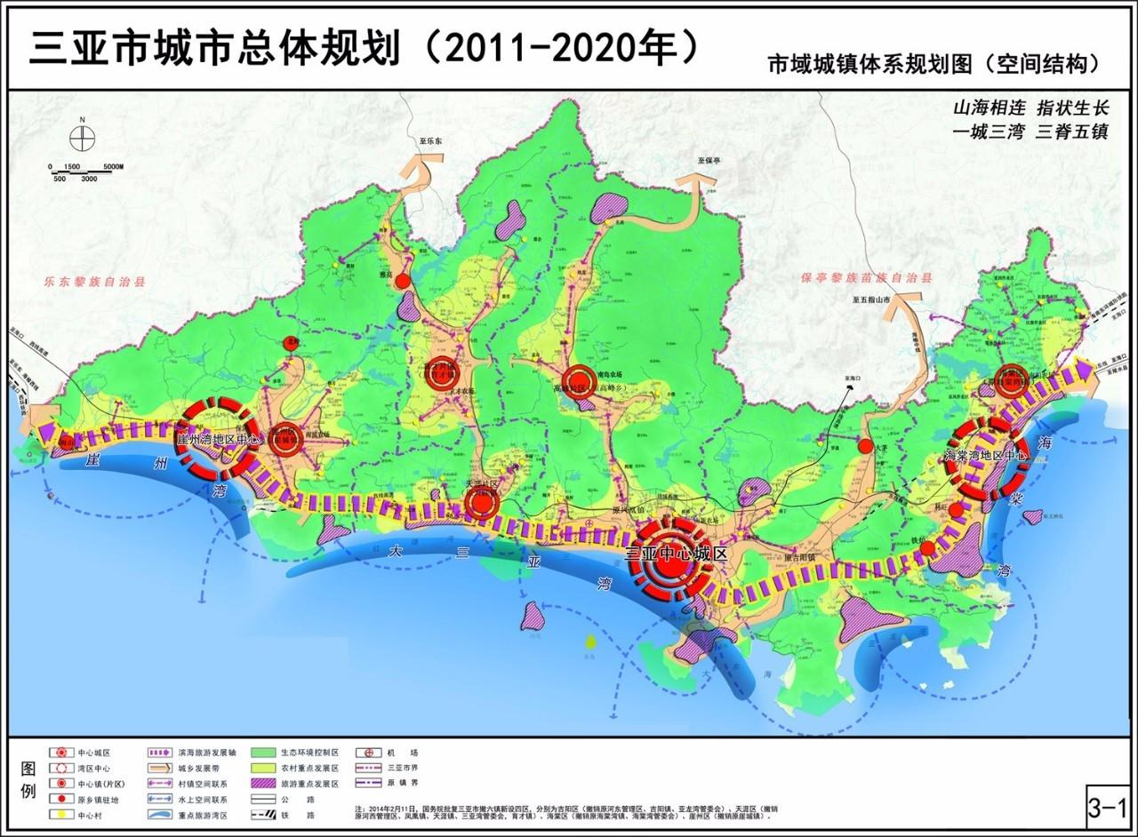 七张图看清未来三亚 图一解读:整个三亚重点打造一个城市,三个湾区