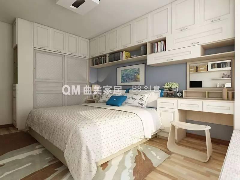 主卧整体的吊柜设计,极大的增加了收纳空间;定制飘窗柜,为住户提供一图片