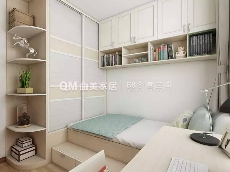 衣柜和转角书桌,书柜的一体式设计,使卧室拥有一个小型书房,增加空