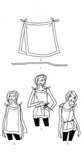 丝巾设计手绘线稿