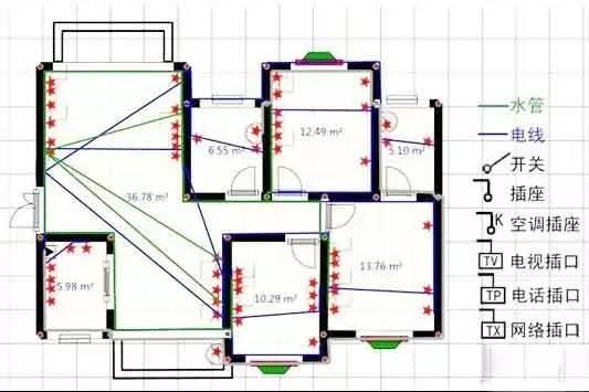 家装水电图平面图