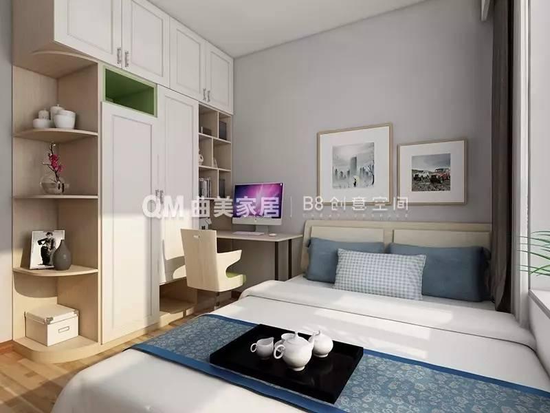 衣柜和转角书桌,书柜的一体式设计,使卧室拥有一个小型书房,增加空间图片