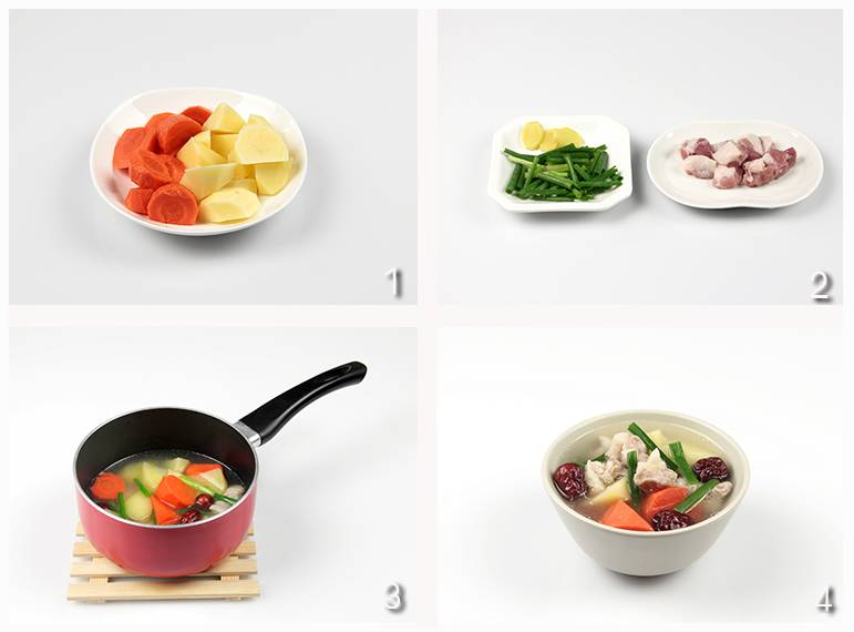 红枣50克,葱段10克,姜片2片,土豆3颗,水50毫升,胡萝卜100克,五花肉200皮蛋版家庭肠图片