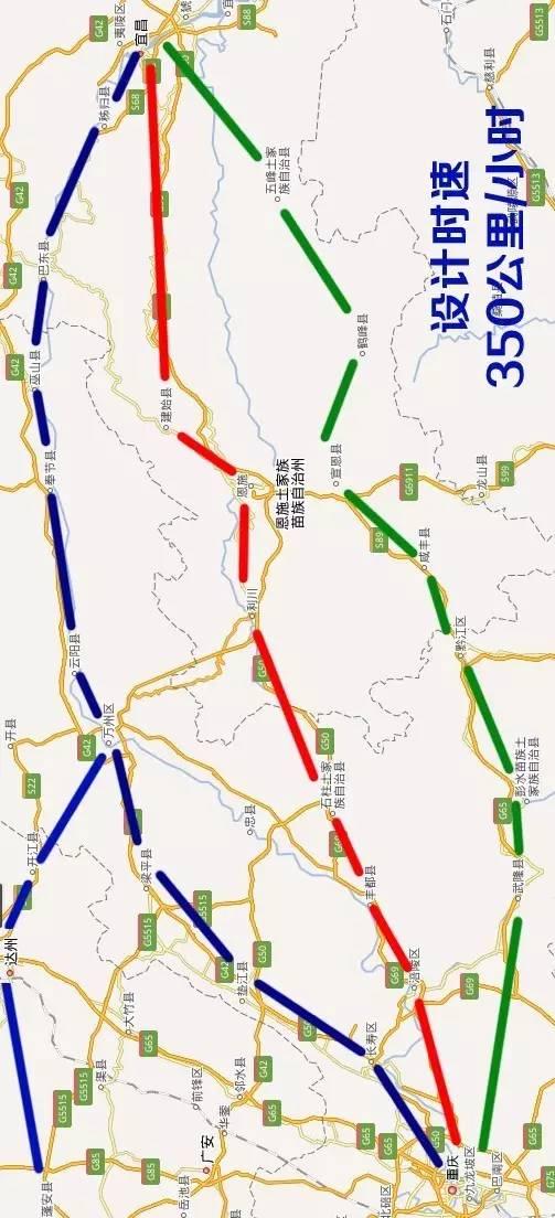 50公里的沪汉蓉高铁,经过恩施有四条线路可选,你选哪条