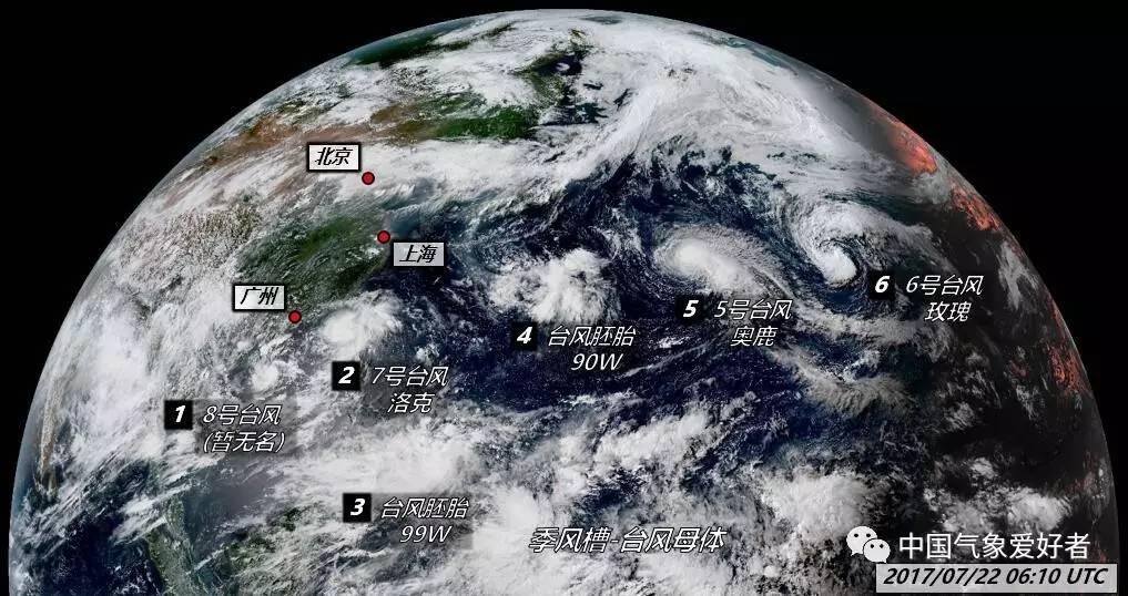 底图来自H8卫星云图,中国气象爱好者绘制-西北太平洋一口气生出4图片