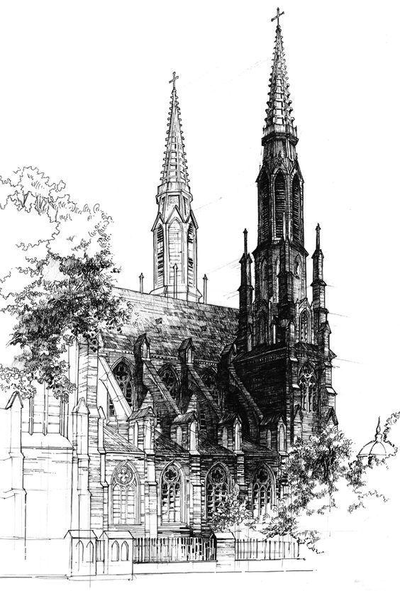 值得临摹的欧洲经典古建筑手绘作品