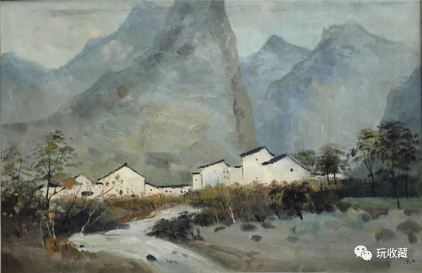 吴冠中 桂林山村-90x59.5cm 布面油画-1978作
