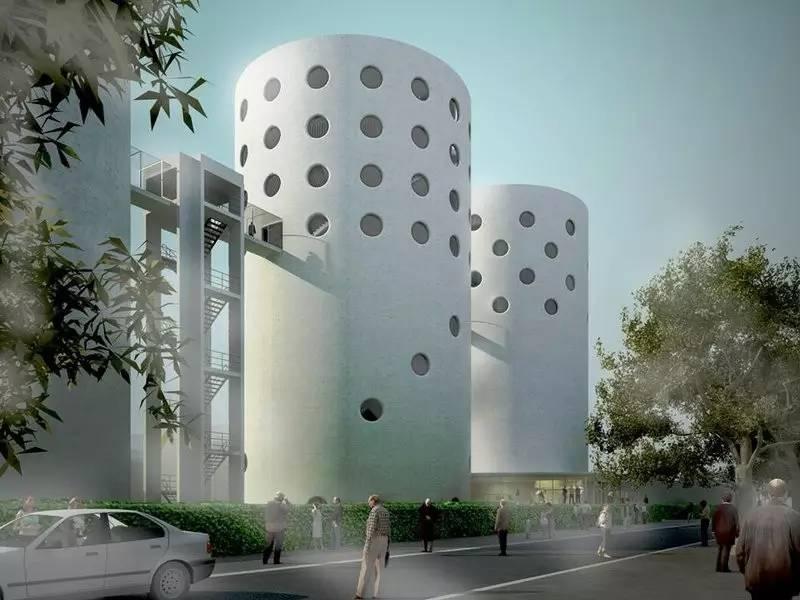 nl的设计师计划将筒仓设计成一个可攀爬的建筑体,体现运动精神和文化.