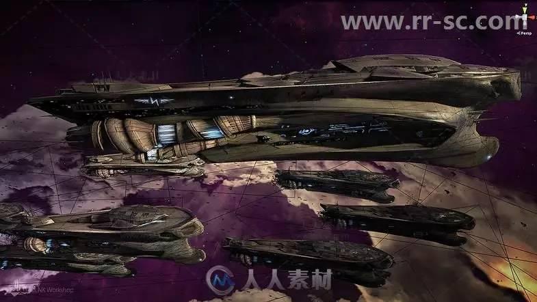 科幻太空飞船车辆3d模型unity游戏素材资源