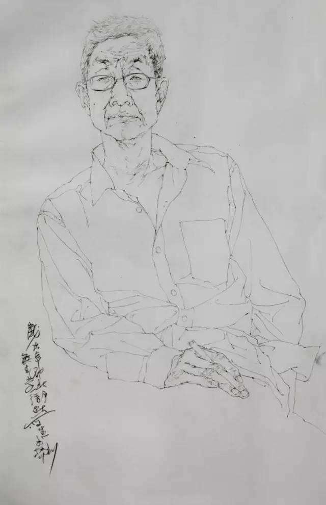 中国美院教授白描人物写生 徐默