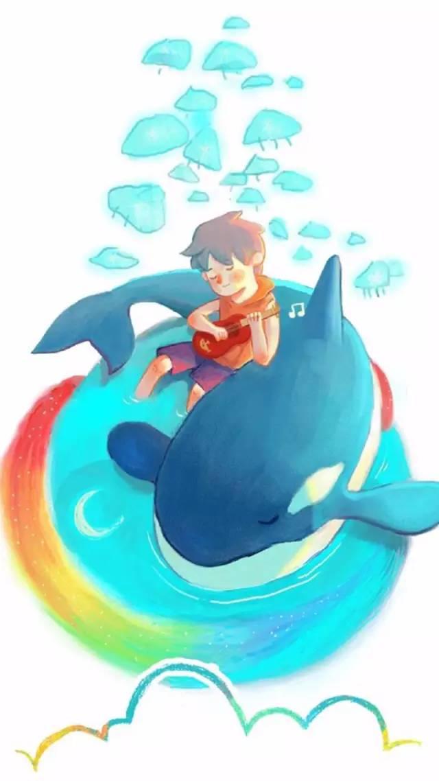【深蓝壁纸】小清新手绘鲸鱼壁纸放送_搜狐动漫_搜狐网