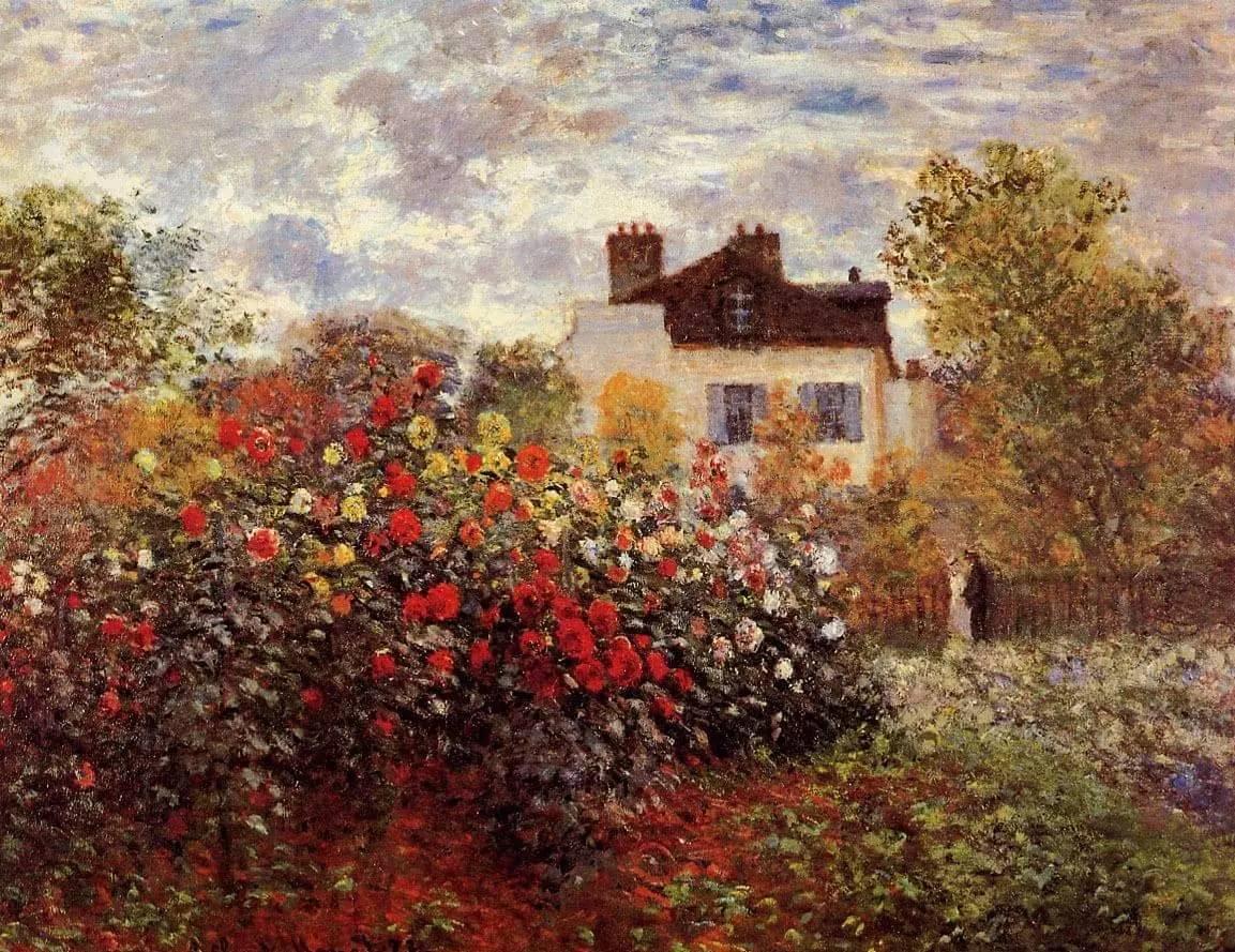 莫奈花园油画