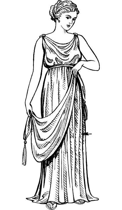古希腊裙子素描 近代西方,连衣裙则是女性在正式场合的首选款式.