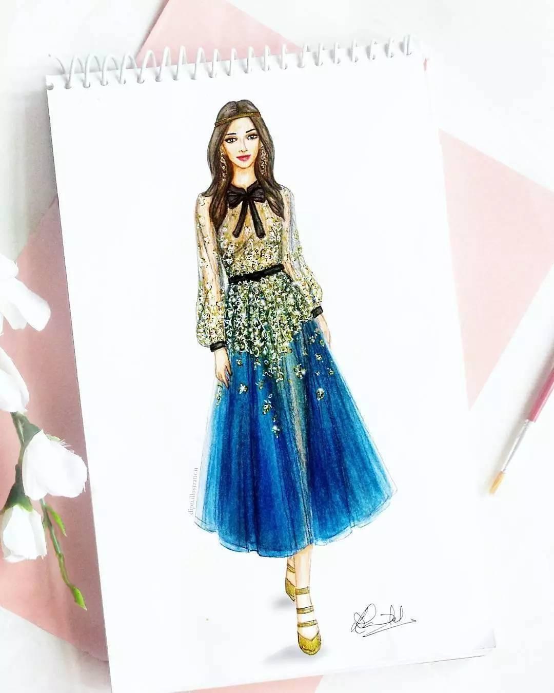 手绘叶子裙子图片