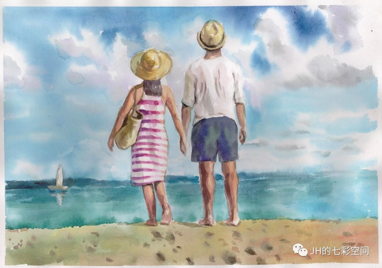 搞笑 正文  这些天临摹了几幅海景的水彩画后,有点想自己画,找了一幅