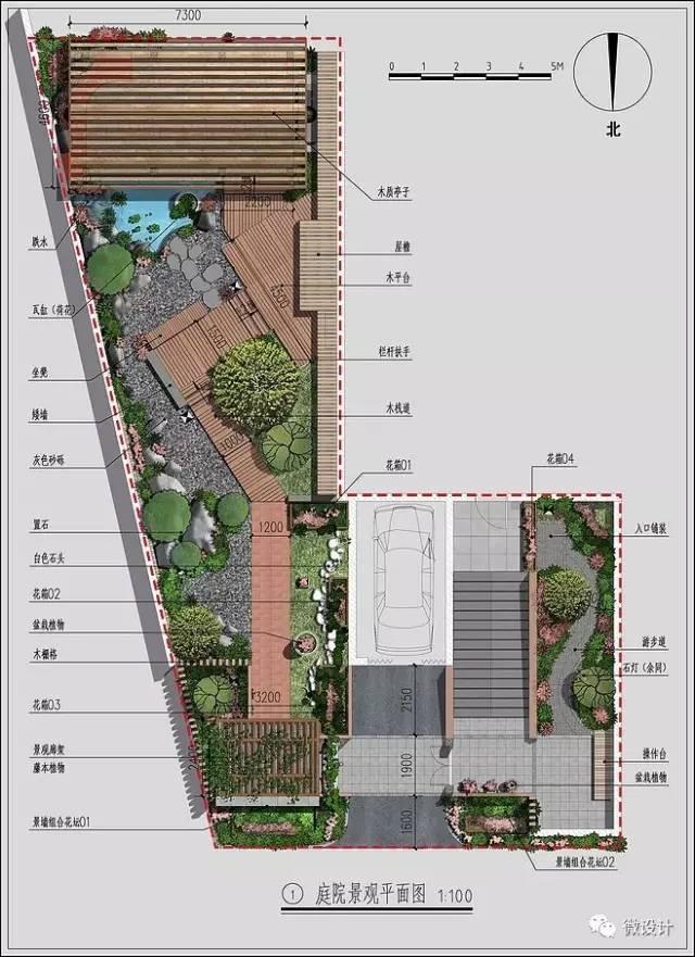 庭院节点手绘平面图