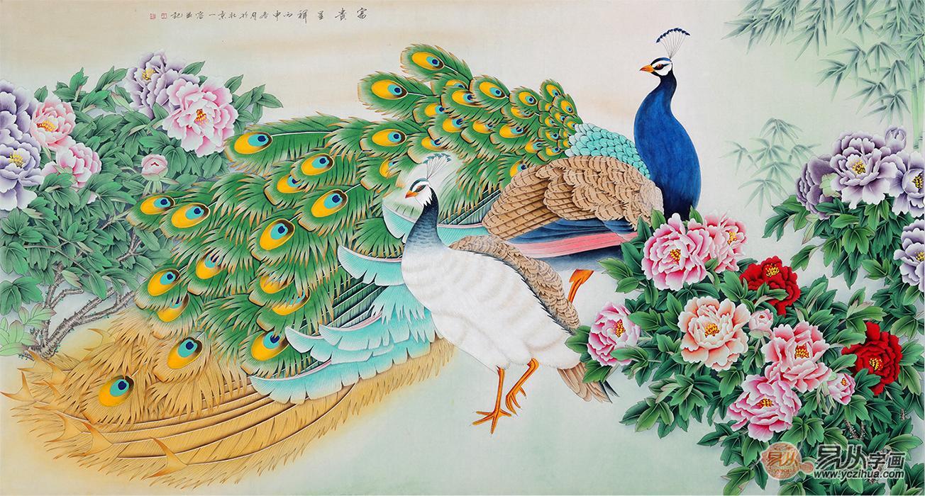 居装饰画王一容工笔画孔雀牡丹图《富贵呈祥》作品来源易从网-画家