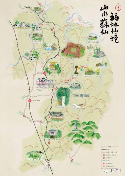 手绘旅游地图上不仅涵盖了苏仙区广为人知的景点景区,还标注了坳上古