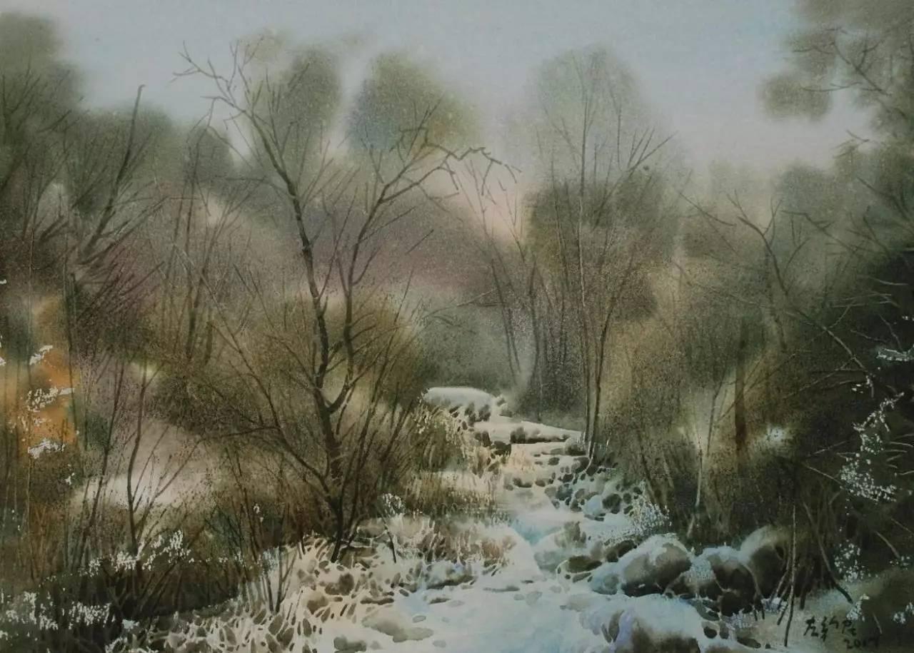 水彩·左新民 | 夏&冬-水彩森林的光影变幻图片