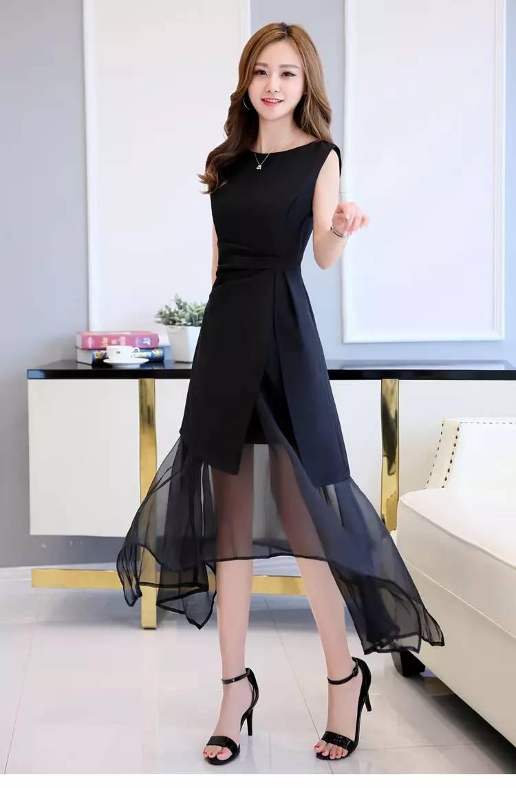显瘦修身夏装圆领无袖纯色时尚优雅连衣裙 货号 SHNR8830