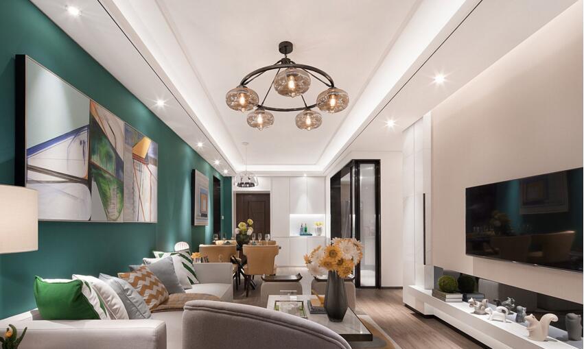 90平现代风格,硬软装合起来7万,客厅设计真漂亮