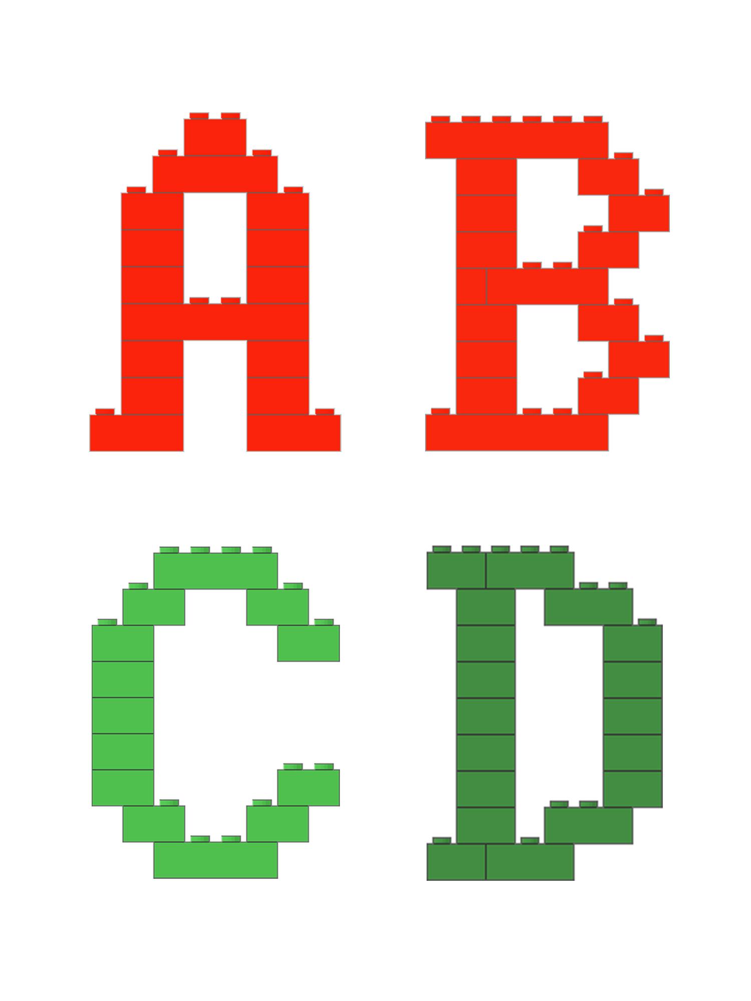 有一种字体,叫乐高体,用乐高积木拼26个英文字母