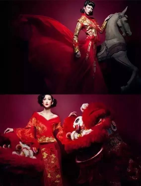 在《我们来了》中, 刘嘉玲和莫文蔚上阵演绎 郭培设计的中式嫁衣图片