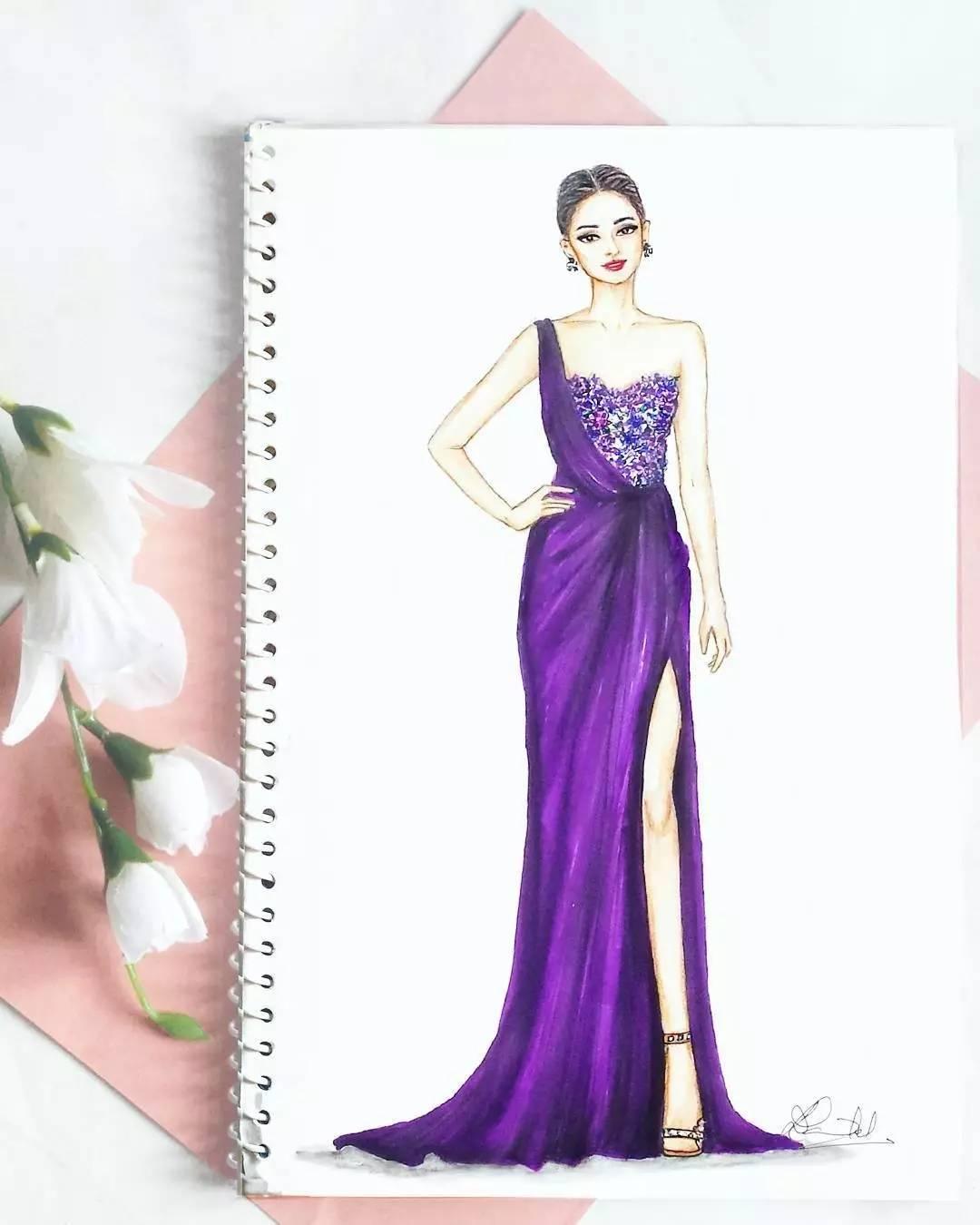 马克笔,彩铅的手绘礼服婚纱强势来袭!