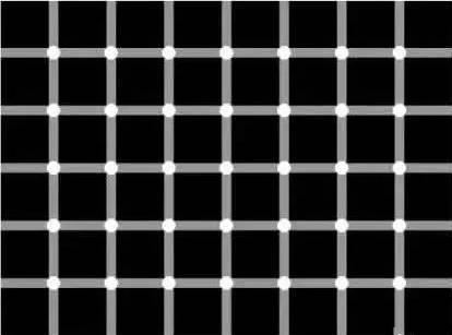 猛一看会觉得下图有好多黑点,但是当你定睛细看时,你根本无法直接