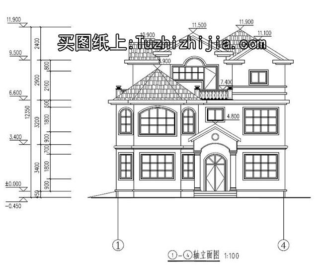 2017农村自建房首选-欧式三层别墅施工设计图!