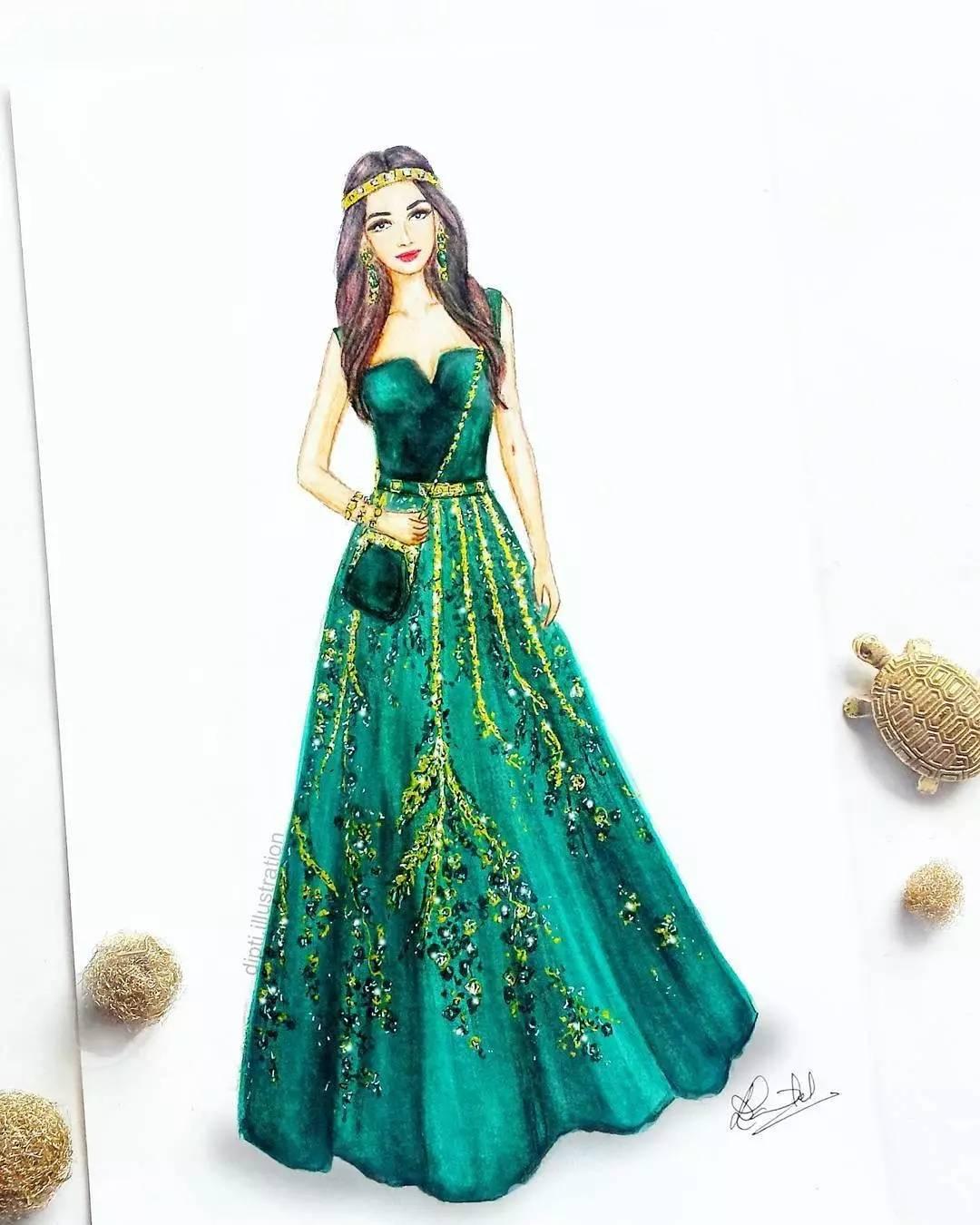 伴娘裙子设计图手绘